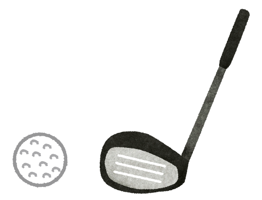 ゴルフクラブとゴルフボールのイラスト