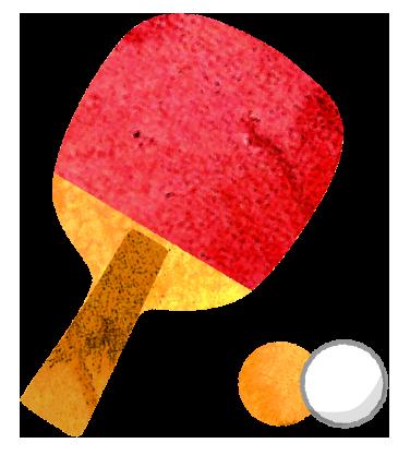 卓球のラケットとピンポン球