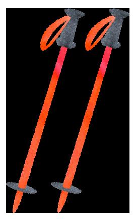 オレンジ色のスキーストックのイラスト