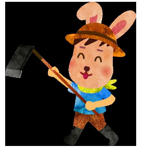 鍬で耕すウサギのイラスト