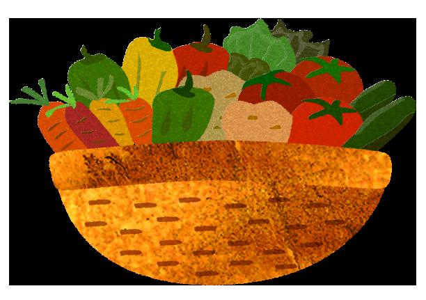 野菜がいっぱい入った篭のイラスト